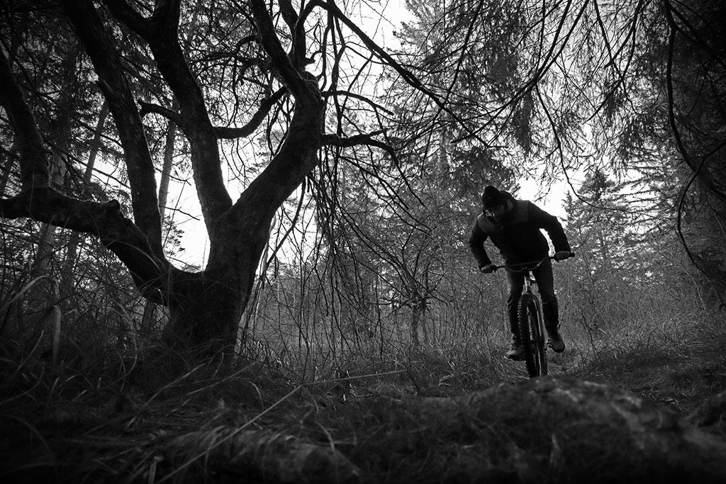leafcycles klunker bike ride in an dark an creepy forrest in Augsburg, Germany